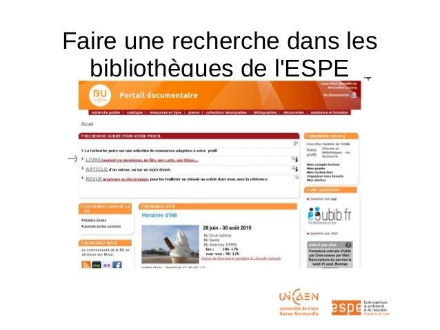 Faire une recherche dans les bibliothèques de l'ESPE