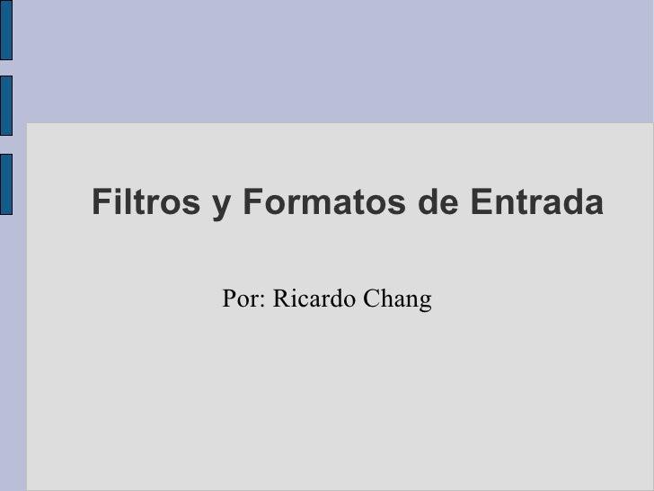 Filtros y Formatos de Entrada Por: Ricardo Chang