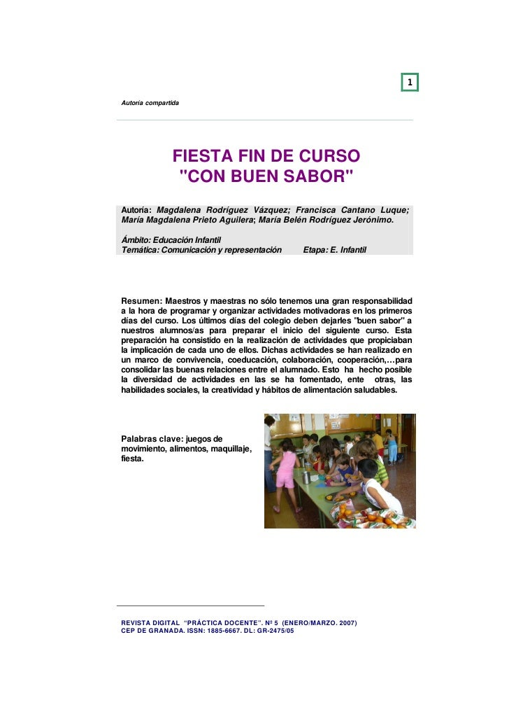 1  Autoría compartida                    FIESTA FIN DE CURSO                 quot;CON BUEN SABORquot; Autoría: Magdalena R...