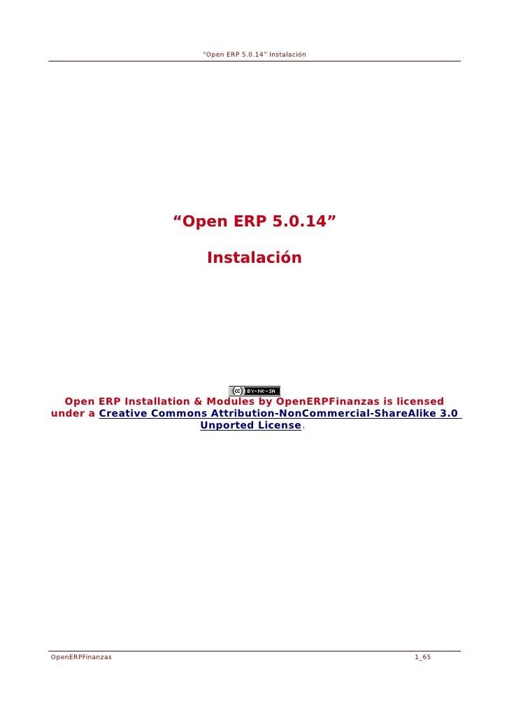 """Open ERP 5.0.14"" Instalación                   ""Open ERP 5.0.14""                         Instalación  Open ERP Installati..."