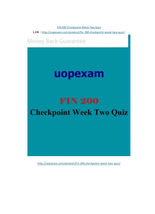 eth 125 checkpoint week two quiz Free essay: university of phoenix material quiz 2 week 4 quiz - ch 5 schaefer (2012) this is a multiple choice/short answer quiz and each item is worth 15.