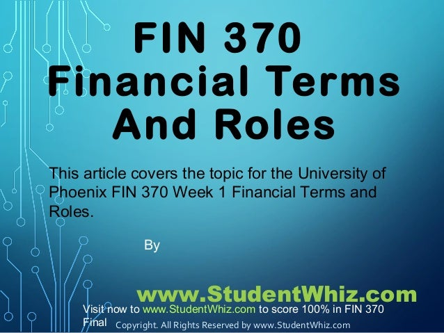FIN 370 Week 1 Financial Terms and Roles