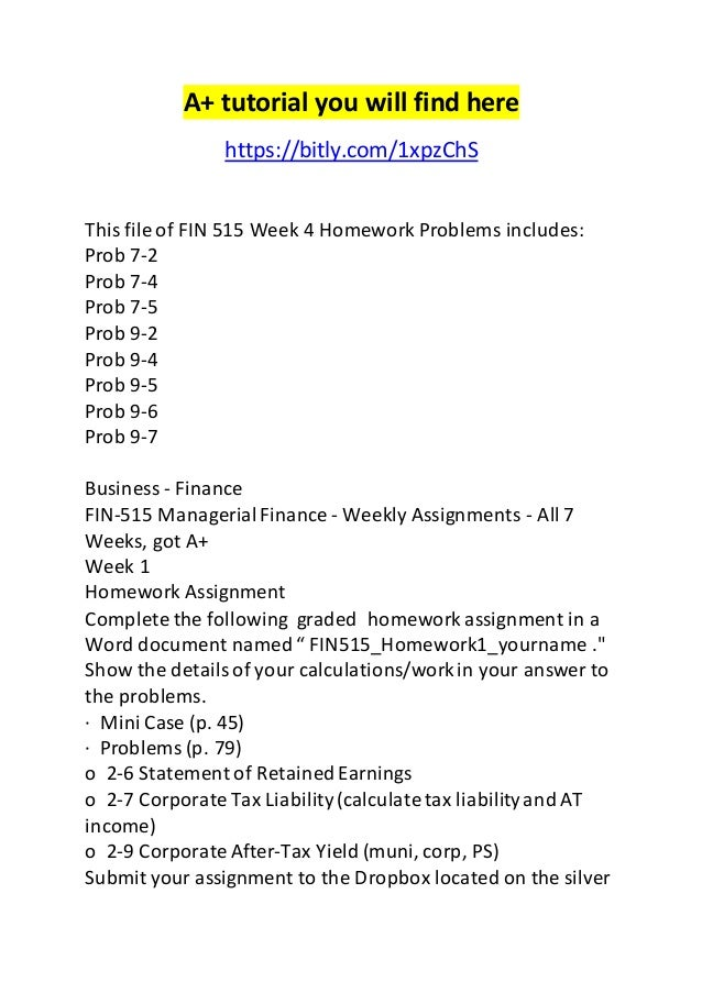 fin 515 week 2 homework