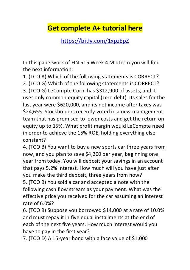 fin 534 final exam part 2