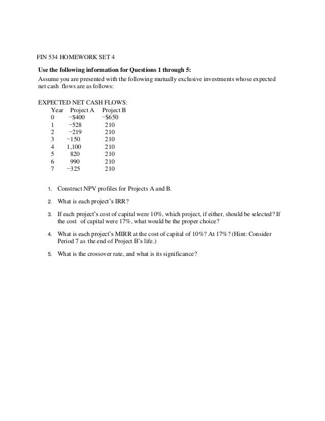 fin 534 week 10 homework set 5