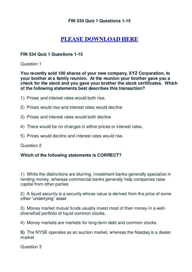 Fin 534 quiz 1 questions 1 15