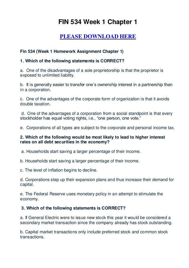 Fin 534 week 1 homework chapter 1