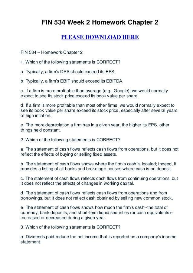 Fin 534 week 2 homework chapter 2