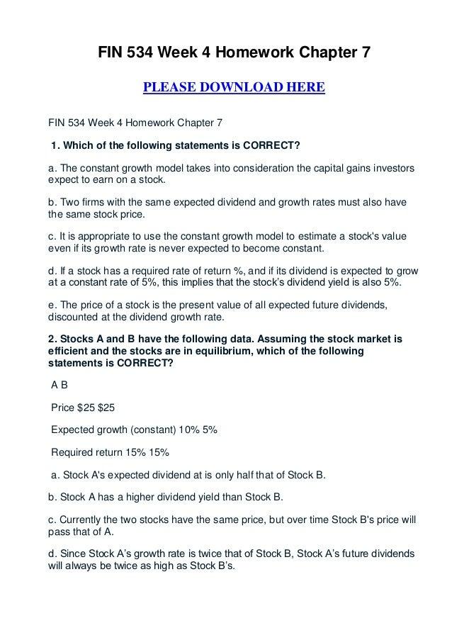 Fin 534 week 4 homework chapter 7
