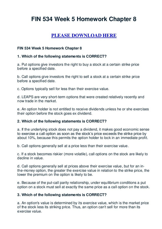 FIN 534 Week 5 Homework Chapter 8                      PLEASE DOWNLOAD HEREFIN 534 Week 5 Homework Chapter 81. Which of th...