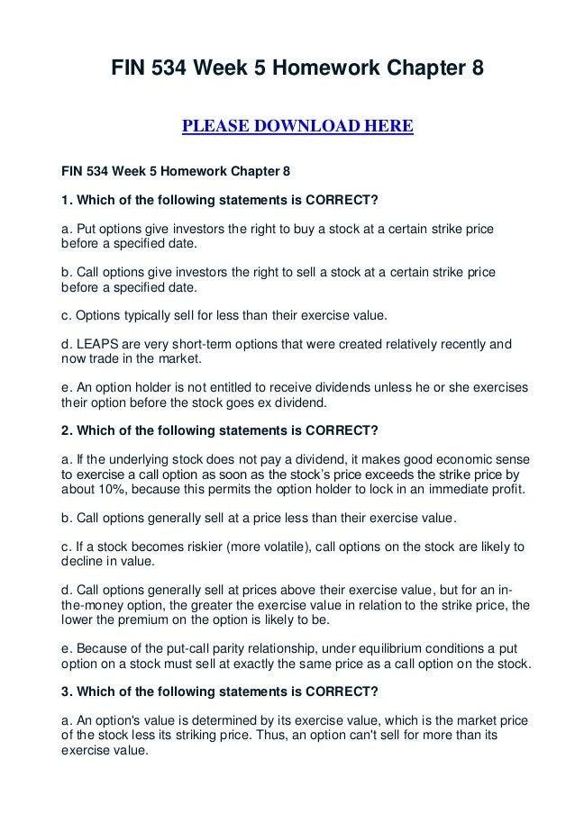 Fin 534 week 5 homework chapter 8