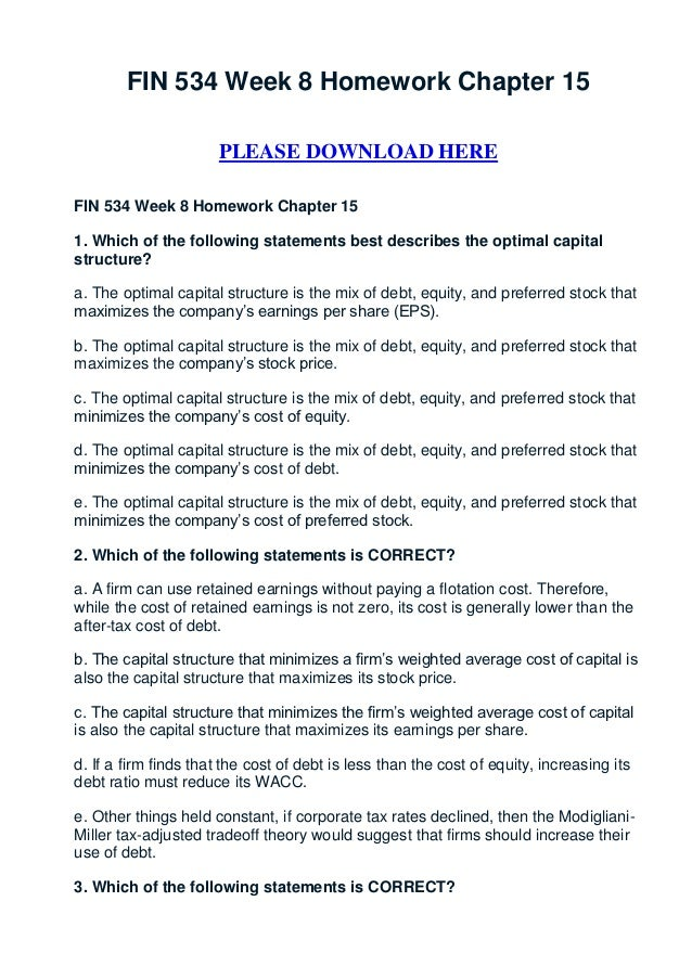 FIN 534 Week 8 Homework Chapter 15                      PLEASE DOWNLOAD HEREFIN 534 Week 8 Homework Chapter 151. Which of ...
