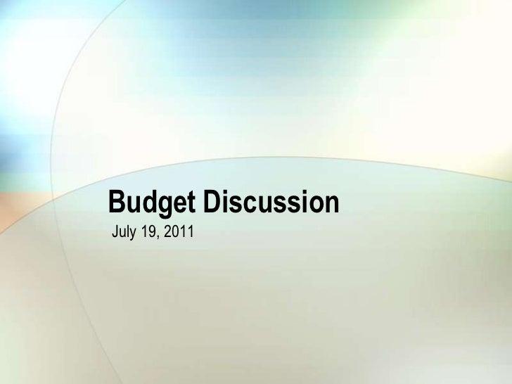 City Council July 19, 2011 Finance Presentation