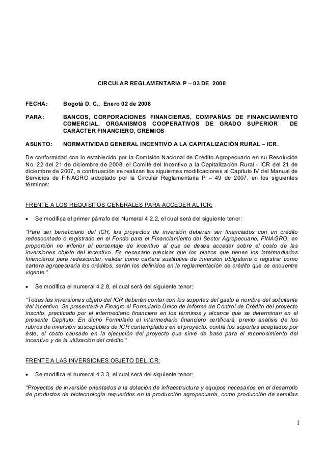 1 CIRCULAR REGLAMENTARIA P – 03 DE 2008 FECHA: Bogotá D. C., Enero 02 de 2008 PARA: BANCOS, CORPORACIONES FINANCIERAS, COM...