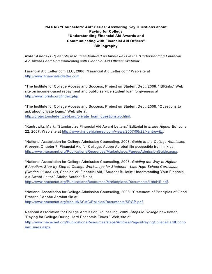 Understanding FInancial AId Awards Bibligraphy