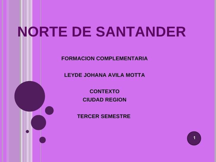 NORTE DE SANTANDER FORMACION COMPLEMENTARIA LEYDE JOHANA AVILA MOTTA CONTEXTO CIUDAD REGION TERCER SEMESTRE