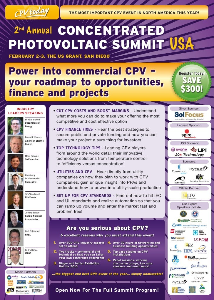 THE	mOsT	ImPOrTanT	CPV	EVEnT	In	nOrTH	amErICa	THIs	yEar!           ConCenTrATeD   2 nd Annual PhoToVolTAiC SummiT USA Febr...