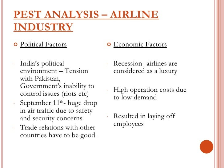 pest analysis on airline industry of india