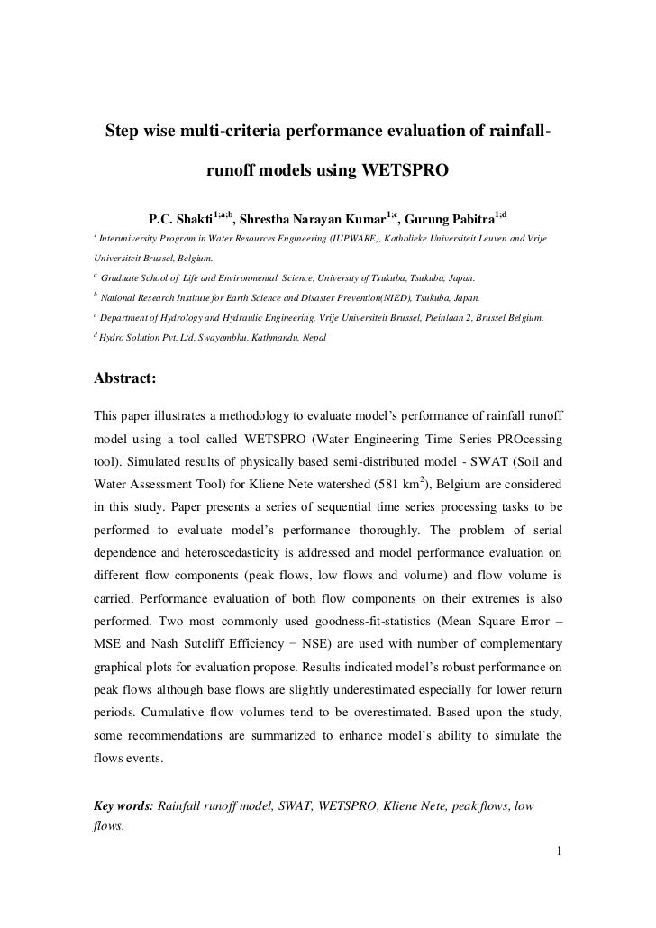 Step wise multi-criteria performance evaluation of rainfall-                             runoff models using WETSPRO      ...
