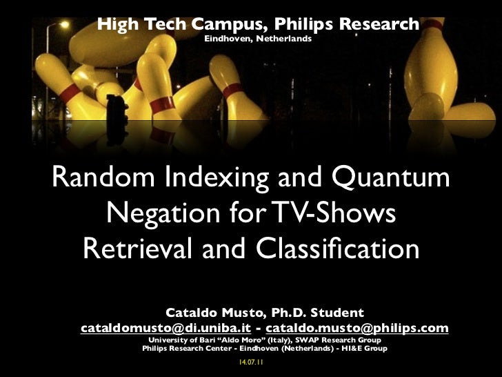 High Tech Campus, Philips Research                         Eindhoven, NetherlandsRandom Indexing and Quantum   Negation fo...