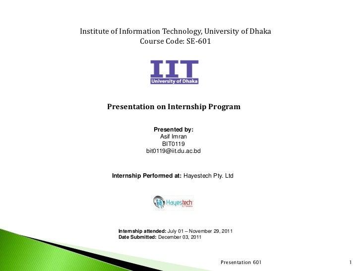 Internship report presentation on cloud computing