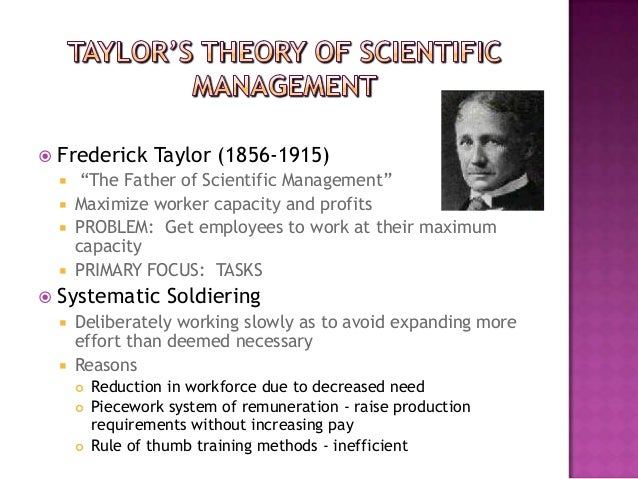 "   Frederick Taylor (1856-1915)        ""The Father of Scientific Management""       Maximize worker capacity and profits..."