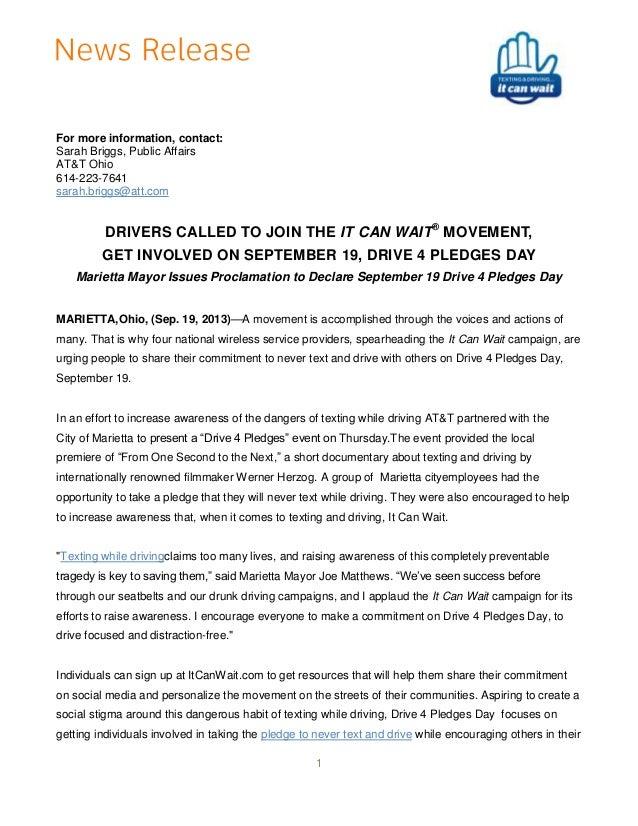 For more information, contact: Sarah Briggs, Public Affairs AT&T Ohio 614-223-7641 sarah.briggs@att.com  DRIVERS CALLED TO...