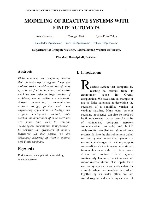 Modeling of reactive system with finite automata