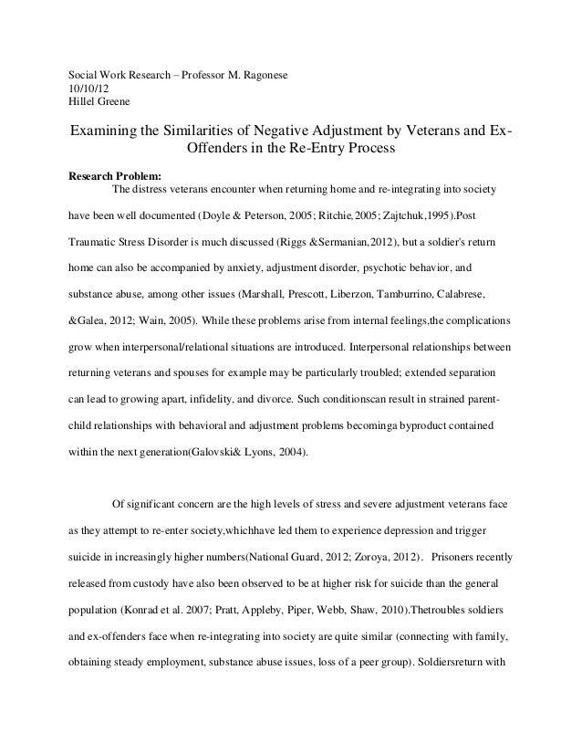 Social Work Research – Professor M. Ragonese10/10/12Hillel GreeneExamining the Similarities of Negative Adjustment by Vete...