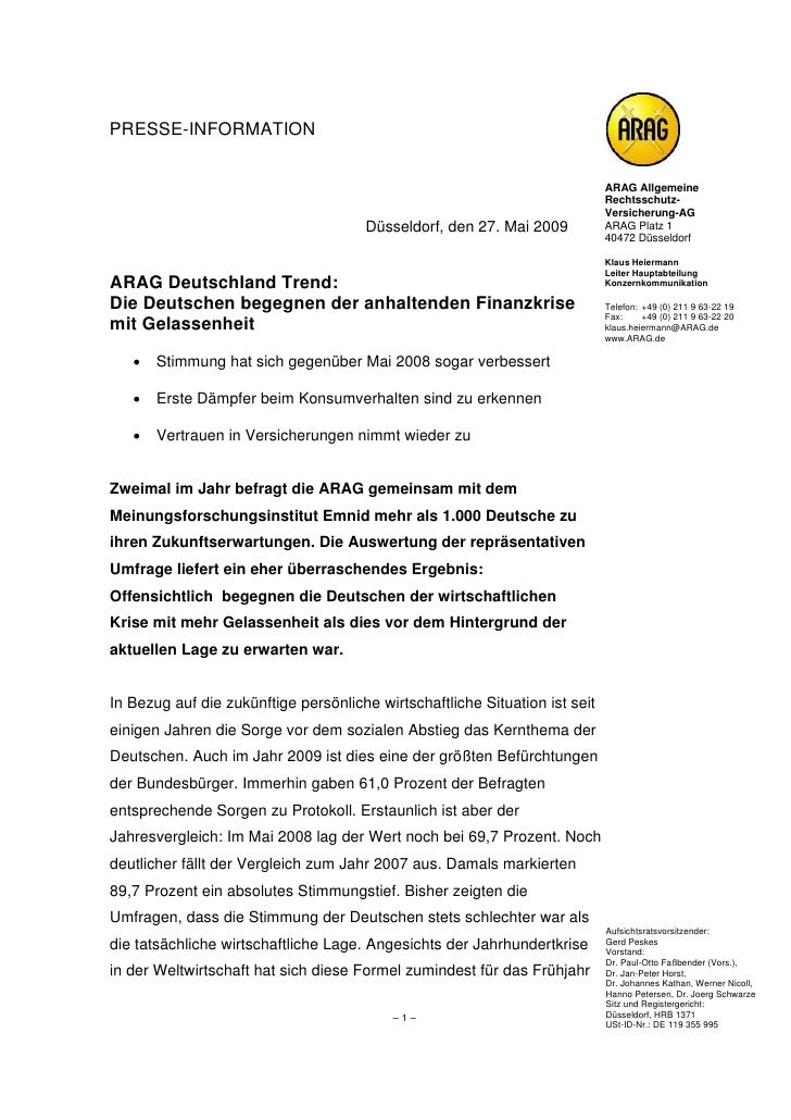 PRESSE-INFORMATION                                                                             ARAG Allgemeine            ...