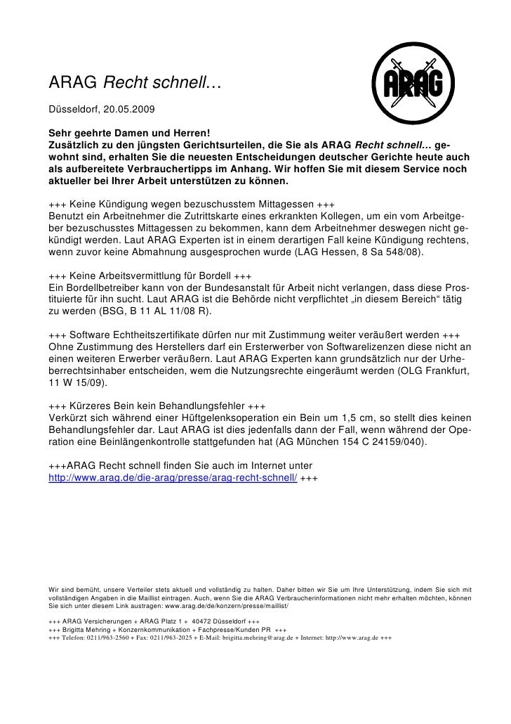 ARAG Recht schnell…Düsseldorf, 20.05.2009Sehr geehrte Damen und Herren!Zusätzlich zu den jüngsten Gerichtsurteilen, die Si...