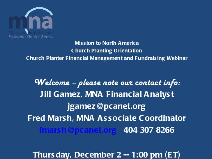 Church Planting Fundraising Seminar Presentation