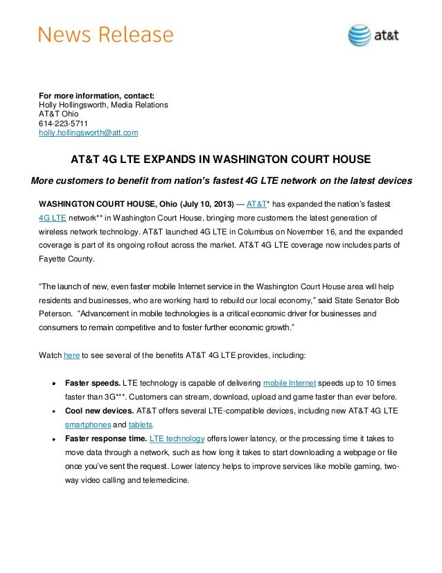 For more information, contact: Holly Hollingsworth, Media Relations AT&T Ohio 614-223-5711 holly.hollingsworth@att.com AT&...