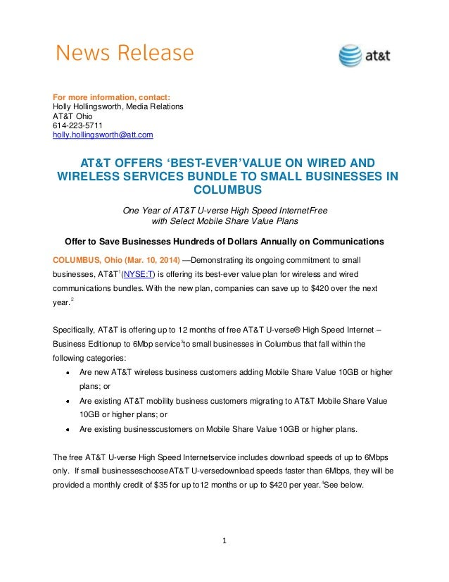 1 For more information, contact: Holly Hollingsworth, Media Relations AT&T Ohio 614-223-5711 holly.hollingsworth@att.com A...