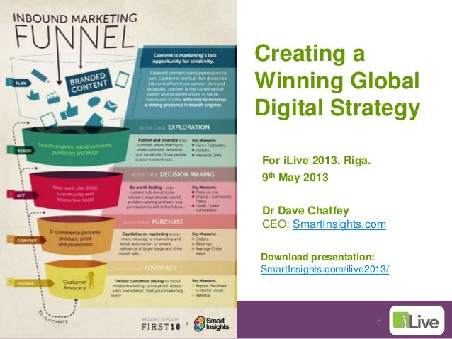 1Creating aWinning GlobalDigital StrategyFor iLive 2013. Riga.9th May 2013Dr Dave ChaffeyCEO: SmartInsights.comDownload pr...