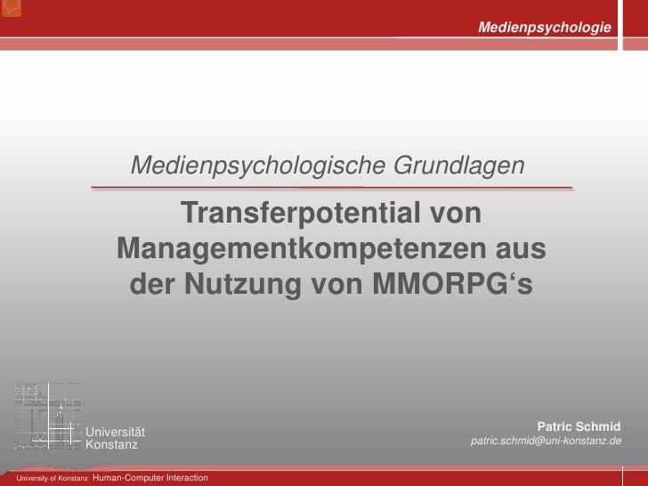 Medienpsychologie - Transferpotential von Managementkompetenzen in Online Rollenspielen (MMORPG)