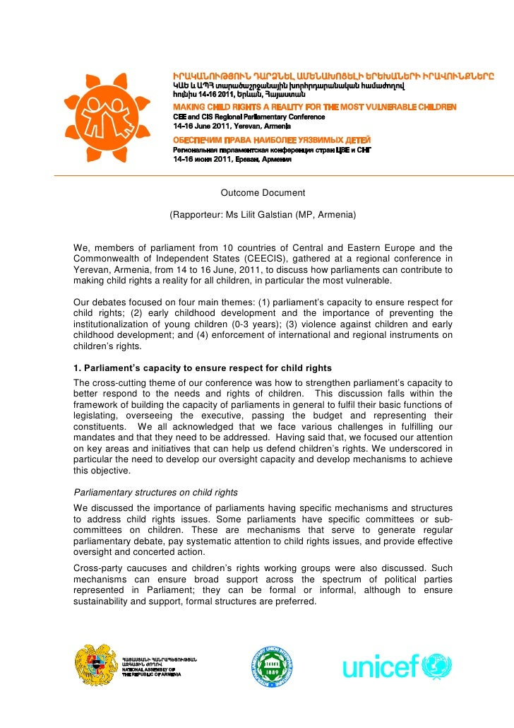 """Final Otcome Document of the CEE and CIS Regional Parliamentary Conference """"Making Child Rights a Reality for the Most Vulnerable Children"""", 14-16 June 2011, Yerevan Armenia"""