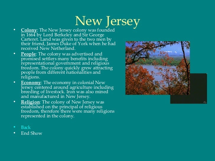 New Jersey Colonies Natural Resources