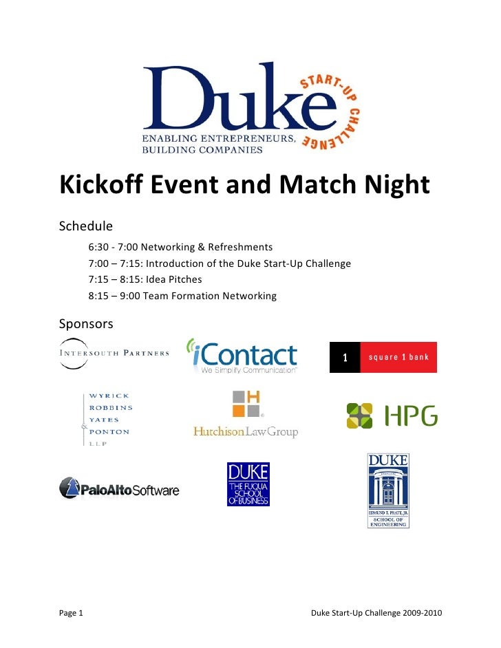 Kickoff Event and Match Night Schedule          6:30 - 7:00 Networking & Refreshments          7:00 – 7:15: Introduction o...