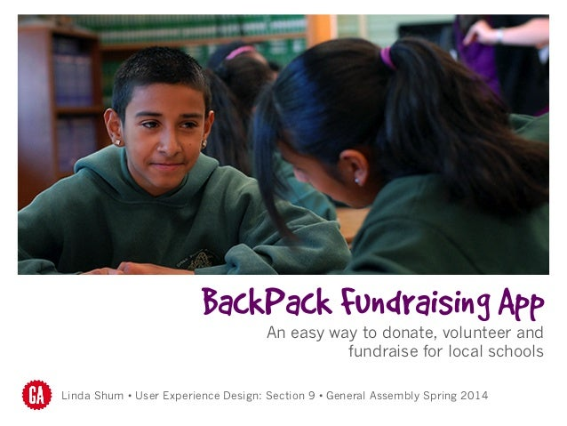 BackPack Fundraising App An easy way to donate, volunteer and fundraise for local schools Linda Shum • User Experience Des...