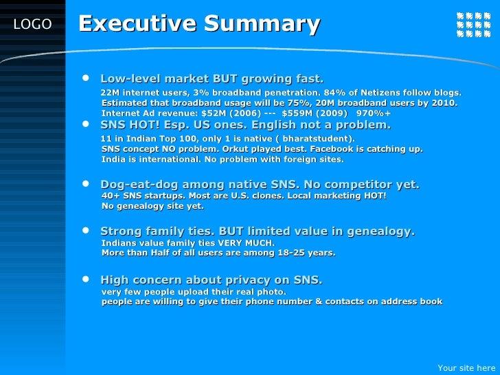 Executive Summary <ul><li>Low-level market BUT growing fast. </li></ul><ul><li>22M internet users, 3% broadband penetratio...