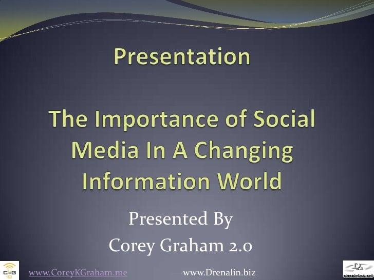 Presented By               Corey Graham 2.0www.CoreyKGraham.me    www.Drenalin.biz