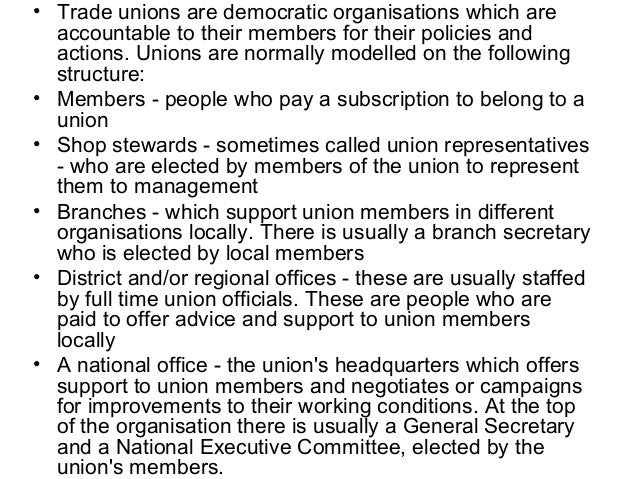 trade union essay Essay # meaning of trade union: over the years, trade unions have emerged as an essential feature of industry in every country the main reason for their emergence is the factory system and capitalistic society.