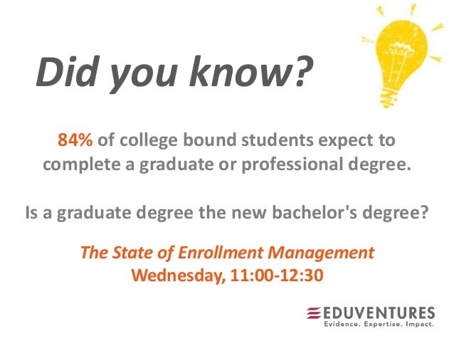 Did you know?84% of college bound students expect tocomplete a graduate or professional degree.Is a graduate degree the ne...