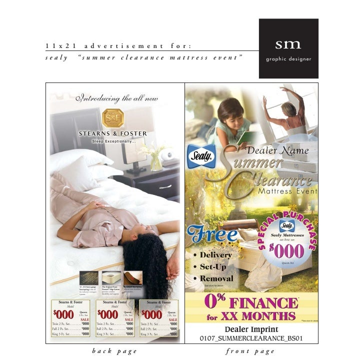 "sm 11x21    advertisement    for: sealy   ""summer clearance mattress event""     graphic designer               back page  ..."
