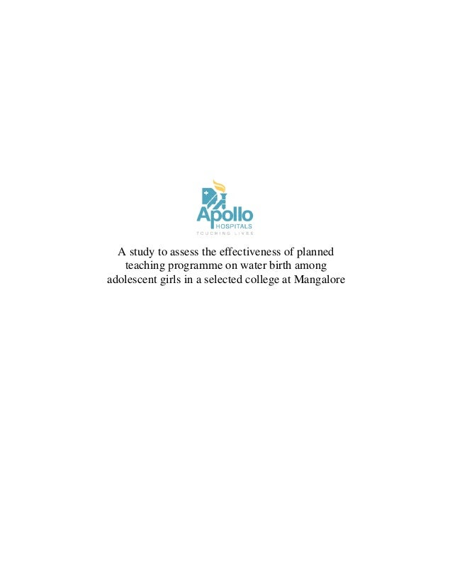 A study to assess the effectiveness of planned teaching programme on water birth among adolescent girls in a selected college at Mangalore