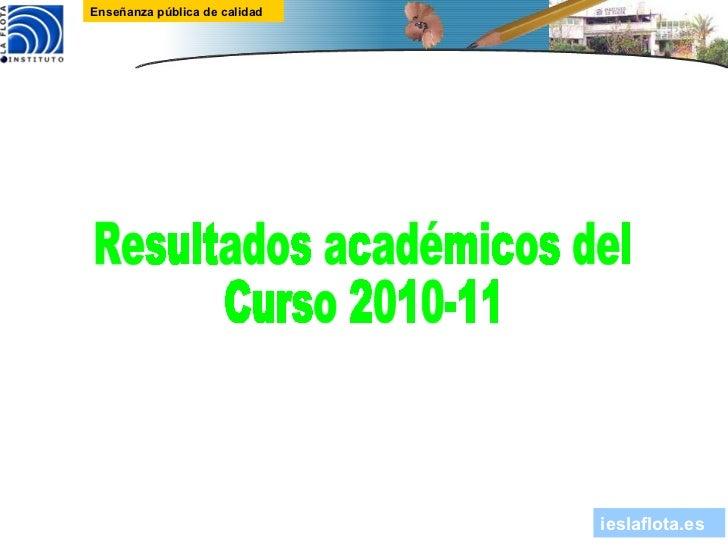 Resultados académicos del Curso 2010-11