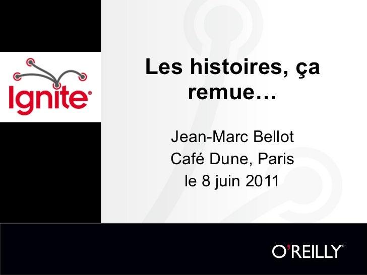 Les histoires, ça remue… Jean-Marc Bellot Café Dune, Paris le 8 juin 2011