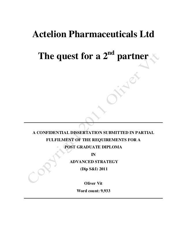 Actelion Pharmaceuticals Ltd                                   nd  The quest for a 2 partnerA CONFIDENTIAL DISSERTATION SU...