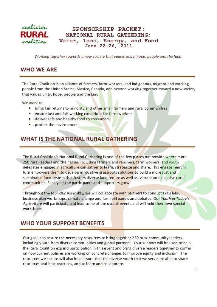 SPONSORSHIP PACKET:                       NATIONAL RURAL GATHERING;                     Water, Land, Energy, and Food     ...